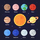 image of earth mars jupiter saturn uranus  - Flat vector icon set of solar system planets sun and moon on dark space background - JPG