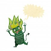 picture of demon  - cartoon demon with speech bubble - JPG