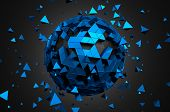 pic of fi  - Abstract 3d rendering of low poly sphere with chaotic structure - JPG