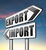 stock photo of export  - import export international and global trade freight transportation road sign arrow - JPG