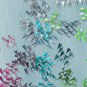 stock photo of spike  - Plenty of colored spikes scattered on blue textured background - JPG