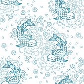 pic of koi fish  - Koi chinese carp seamless pattern - JPG