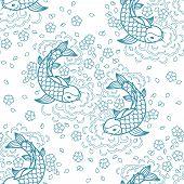 picture of freshwater fish  - Koi chinese carp seamless pattern - JPG
