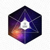 stock photo of cosmic  - Hipster triangular colorful cosmic background with Light - JPG