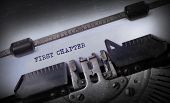 pic of typewriter  - Vintage inscription made by old typewriter First chapter - JPG