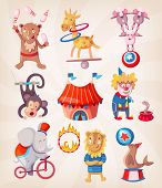 picture of arena  - Colorful circus animals present at arena doing acrobatic tricks - JPG