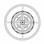 picture of compasses  - nautical label vintage compass icon and design element - JPG