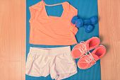 Постер, плакат: Workout clothes fitness outfit and running shoes Overhead of clothing ready for lifting weights a