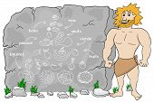 stock photo of cave-dweller  - vector illustration of a cave man explains paleo diet using a food pyramid drawn on stone (french) l�gumes = vegetables; fruits = fruits; viande = meat; poisson = fish; - JPG
