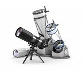 stock photo of speculum  - Telescope set comprising 4 objects on white background - JPG