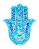 picture of hamsa  - vector watercolor hamsa illustration - JPG