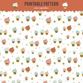 pic of pie-in-face  - Cute funny seamless pattern with sweet cupcakes - JPG
