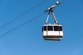 stock photo of gibraltar  - Cable car in the city of Gibraltar close to the top of Gibraltar rock - JPG