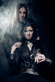 pic of domina  - Romantic portrait of young gothic couple  - JPG