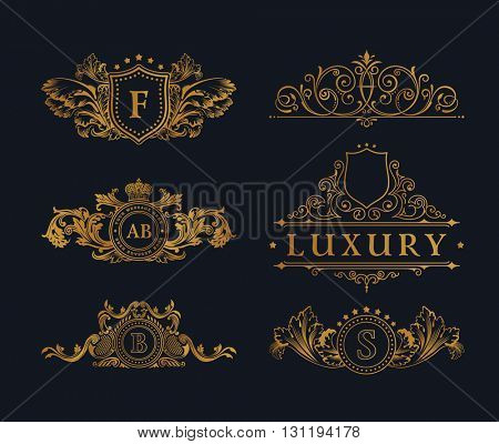 vintage gold logo elements flourishes calligraphic ornament