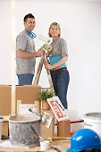 Portrait of young couple painting their new home, smiling, standing together on ladder.