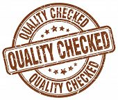 Quality Checked Brown Grunge Round Vintage Rubber Stamp.quality Checked Stamp.quality Checked Round poster
