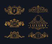 Vintage gold logo Elements. Flourishes Calligraphic Ornament. Elegant emblem monogram luxury logo. F poster
