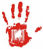 Identification. Red handprint with barcode.