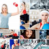 picture of step aerobics  - Collage of sporty pictures - JPG