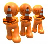 Under construction cones with gold icon guys