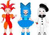 Harlequin, Pierrot, Columbina