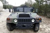 stock photo of humvee  - hummer military truck front view of vehicle - JPG