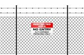 Fence With Barbed Wire And Sign No Entry poster