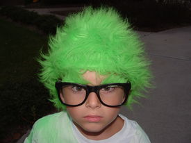 picture of mad scientist  - a boy in dressed in a halloween costume pretending to be a mad scientist - JPG