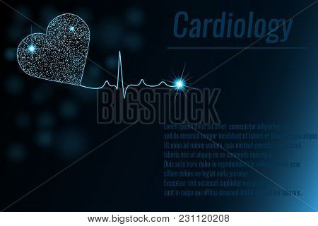poster of Medical Background With Heart Cardiogram Illustration. Cardiology Background. Glow Effect. Space For