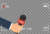 Background With Camera Frame And Record Or Rec Vector Isolated. Focus Tv In Live News Flat Design. H poster