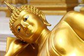 Reclining Buddha Image In Front Of Church, Wat Naga Wichai, Mahasarakam, Thailand