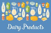 Dairy Products Banner With Dairy Assortment Icons On Blue Background,  Illustration. Healthy Nutriti poster