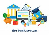 Icons For The Banking System. Bank Account Online Access Protection Operations Safety Consept. Moder poster