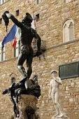 View of bronze statue of Perseo - Florence, Italy