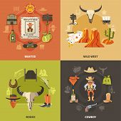 Cowboy Design Concept With Wild West, Wanted Bandit, Rodeo Elements Isolated On Color Background Vec poster