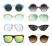 Vector Illustration Set Of Sunglasses Isolated On White Color Background. Different Summer Sunglasse poster