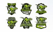 Постер, плакат: A Set Of Emblems Badges Stickers Logos Of Dinosaur Hunting Predator Jurassic A Dangerous Beast