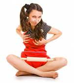 image of libido  - outrageous housewife in red on a white background - JPG