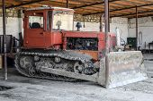 Tractor. Agricultural Machinery Tractor. Tractor With Pick-up, Grader. Parking Of Tractor Agricultur poster