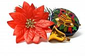Small Closed Christmas Gift Box With Bells And Fake Poinsettia