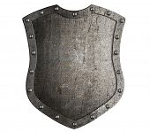 Metal medieval shield tall shield or coat of arms isolated 3d illustration poster