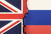 Great Britain And Russia, Political Conflict Concept. 3d Rendering poster