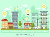 City With Light Bulbs Having Percentage And Growing Arrows. Town With Renewable Electricity. Metropo poster
