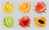 Orange, Kiwi Fruit, Banana, Tomato, Watermelon, Papaya Juice. Fresh Fruits And Splashes, 3d Vector I poster