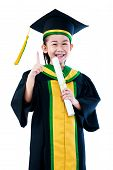 Kindergarten Graduation. Asian Child In Graduation Gown Holding Diploma Certificate And Showing Fore poster