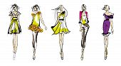 Постер, плакат: Stylish Fashion Models Pretty Young Girls Fashion Girls Sketch