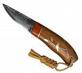 Handmade hunting knife, on white background isolated.