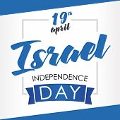 Israel Independence Day Greeting Card. Vector Illustration For 19 April Independence Day Israel In N poster