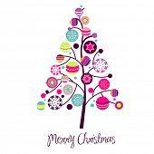 Árbol de Navidad abstracto con elementos de diseño lindo y colorido